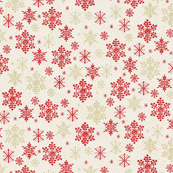 Makower - Scandi 2021 - Snowflake Red Metallic
