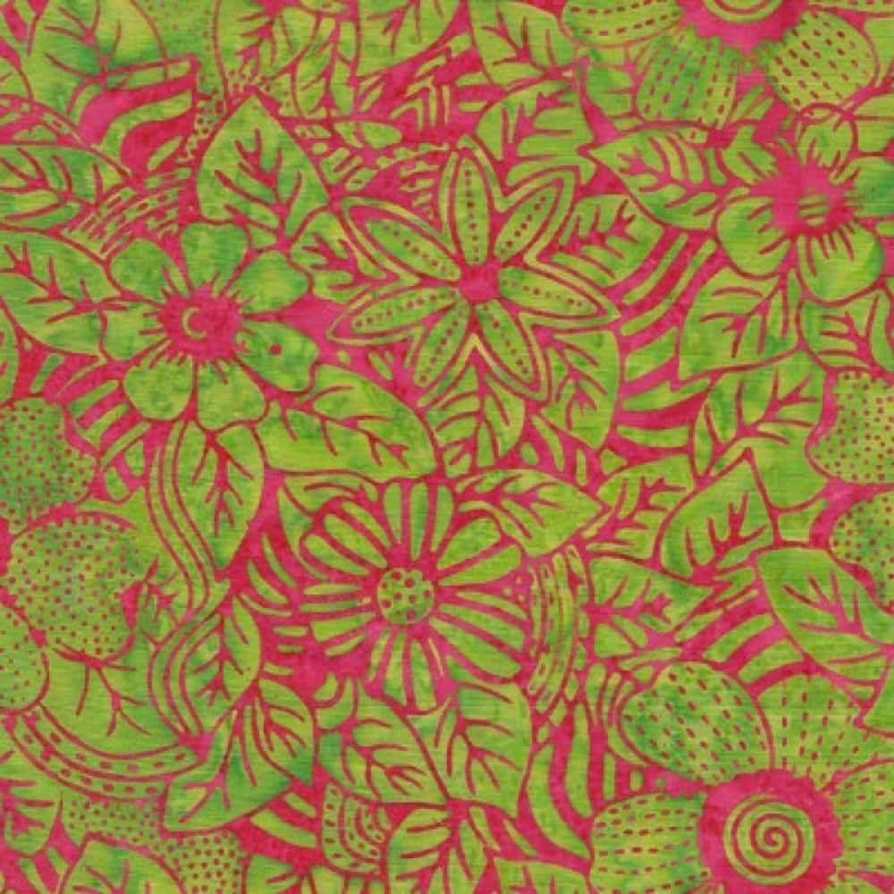 Makower - Island Batiks 2020 - Floral In Lime And Fuchsia