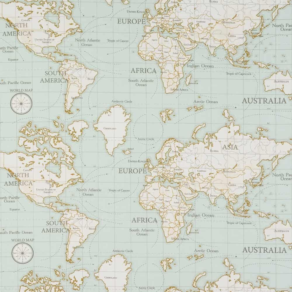 Laminated Cotton - Maps - Duck Egg