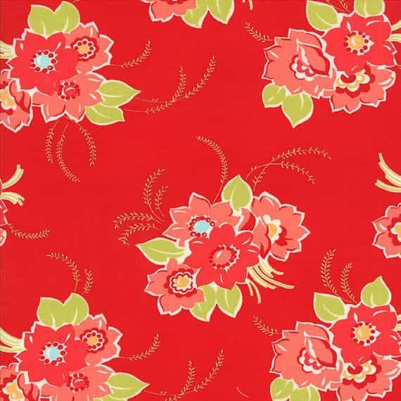 Remnant - Moda - Miss Kate - Blossom In Red - 25 x 110cm