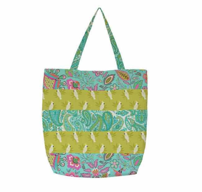 Makower - Monsoon - Striped Tote Bag Pattern - Free Instant Download