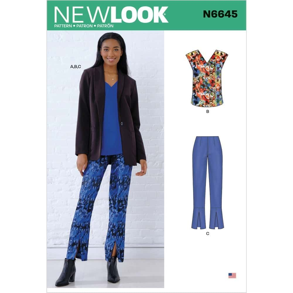 New Look Sewing Pattern 6645 - Misses Jacket, Top and Pants