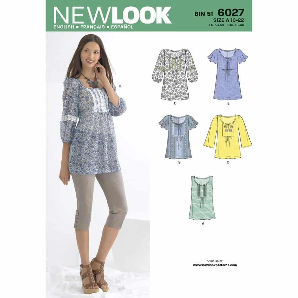 New Look Sewing Pattern 6027 Misses Tunic or Tops