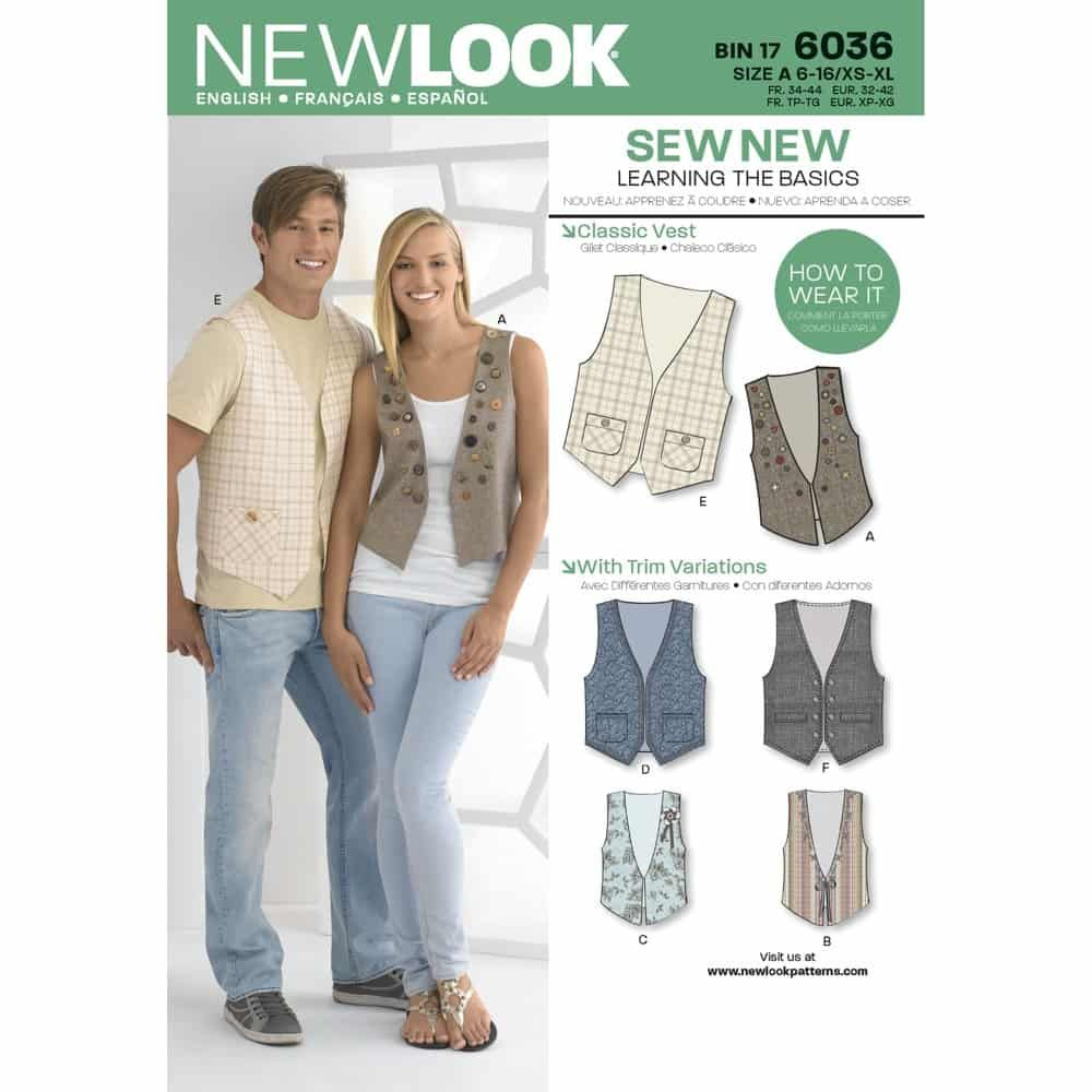 New Look Sewing Pattern 6036 Misses & Mens Vests