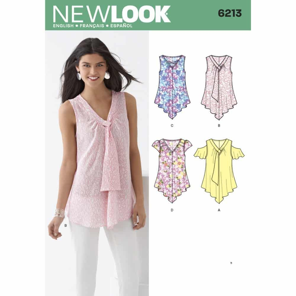 New Look Sewing Pattern 6213 Misses Tops