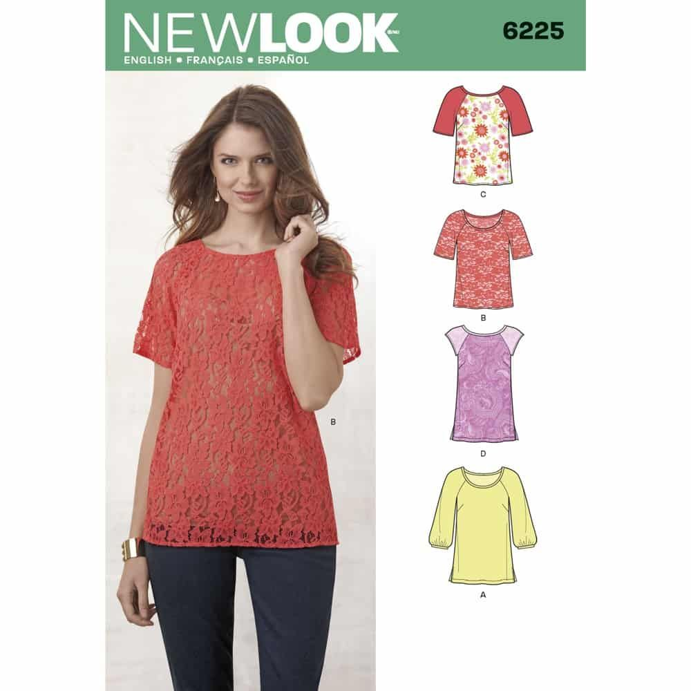 New Look Sewing Pattern 6225 Misses Tops in Two Lengths
