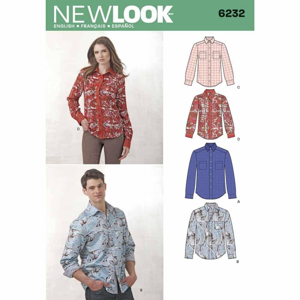 New Look Sewing Pattern 6232 Misses and Mens Button Down Shirt