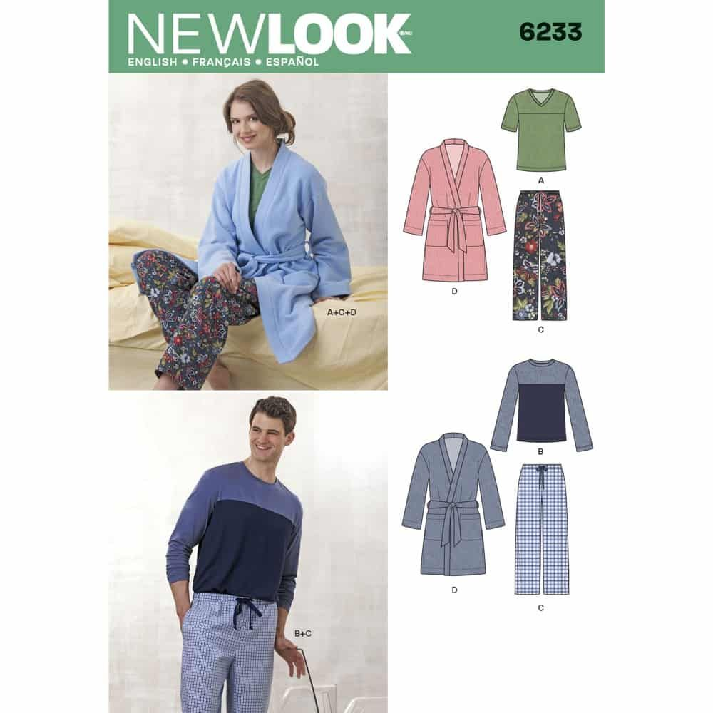 New Look Sewing Pattern 6233 Unisex Pants, Robe and Knit Tops