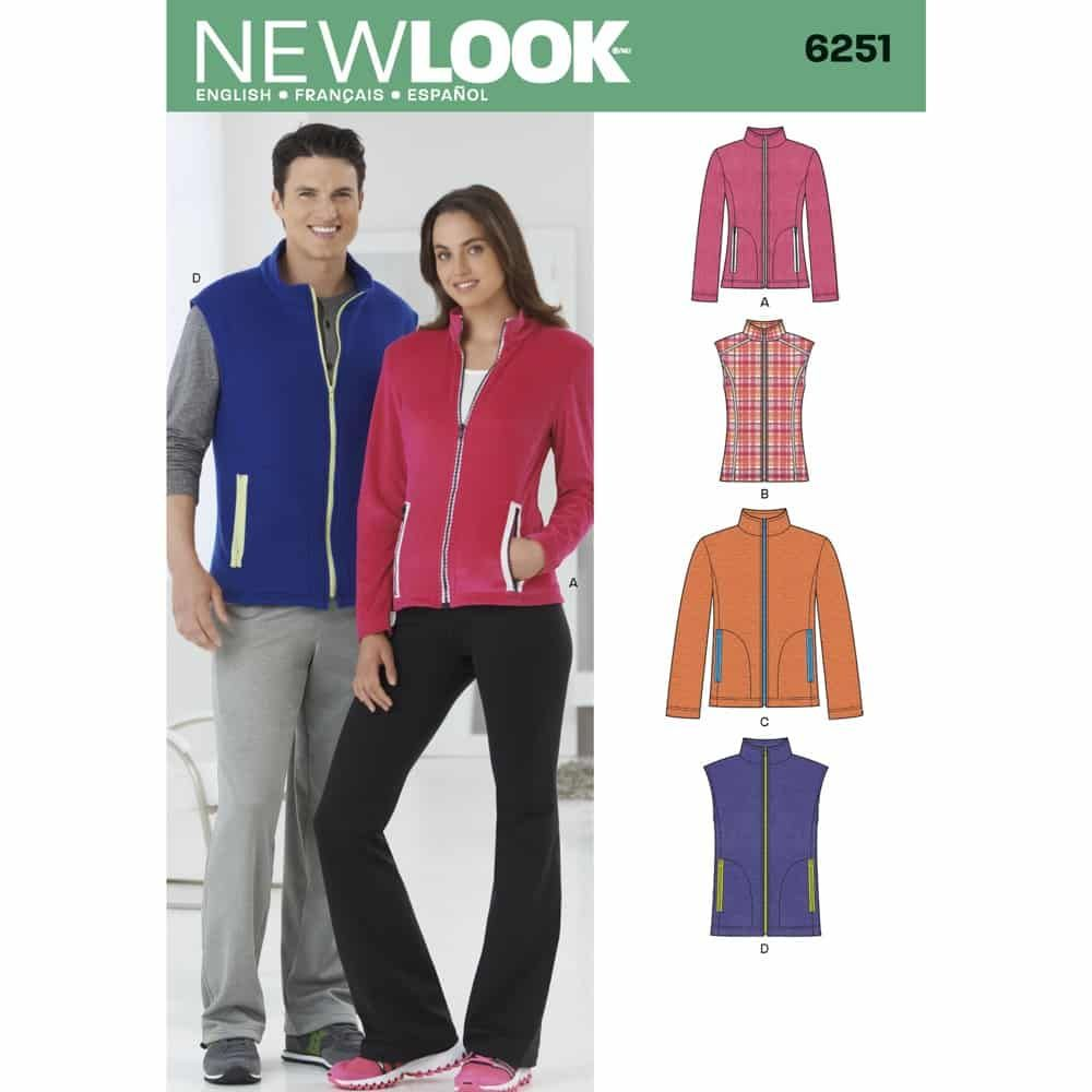 New Look Sewing Pattern 6251 Misses and Mens Jacket or Vest