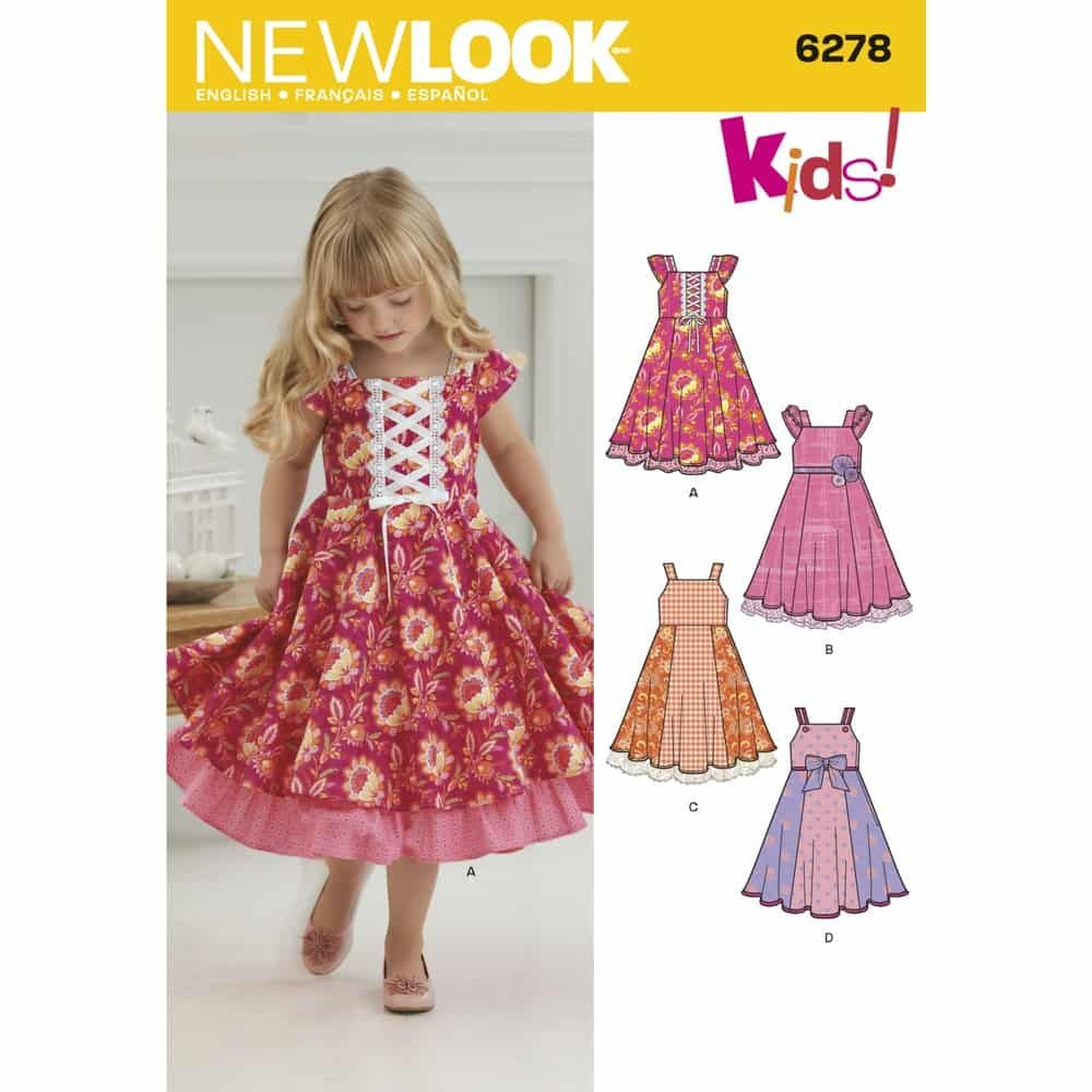 New Look Sewing Pattern 6278 Childs Dress with Trim Variations