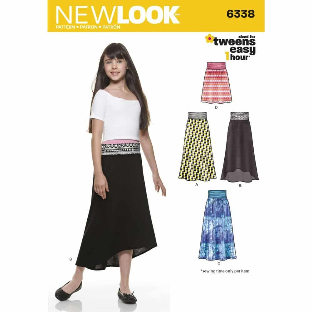 New Look Sewing Pattern 6338 Girls Easy Skirts and Knit Skirts