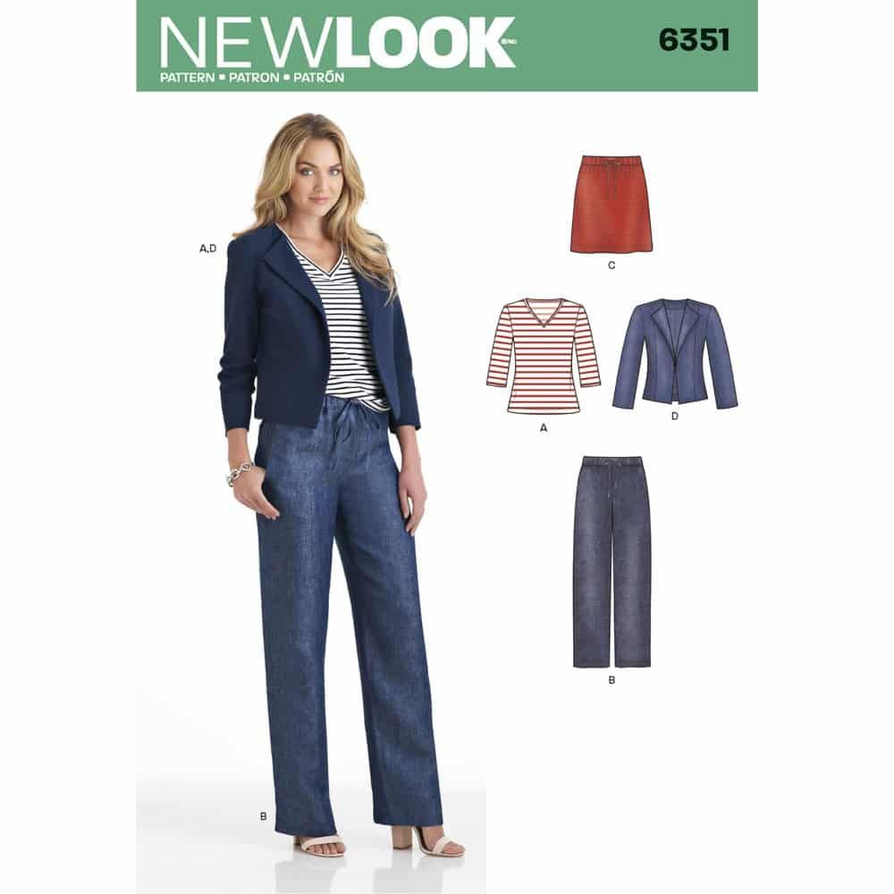 New Look Sewing Pattern 6351 Misses Jacket, Pants, Skirt and Knit Top