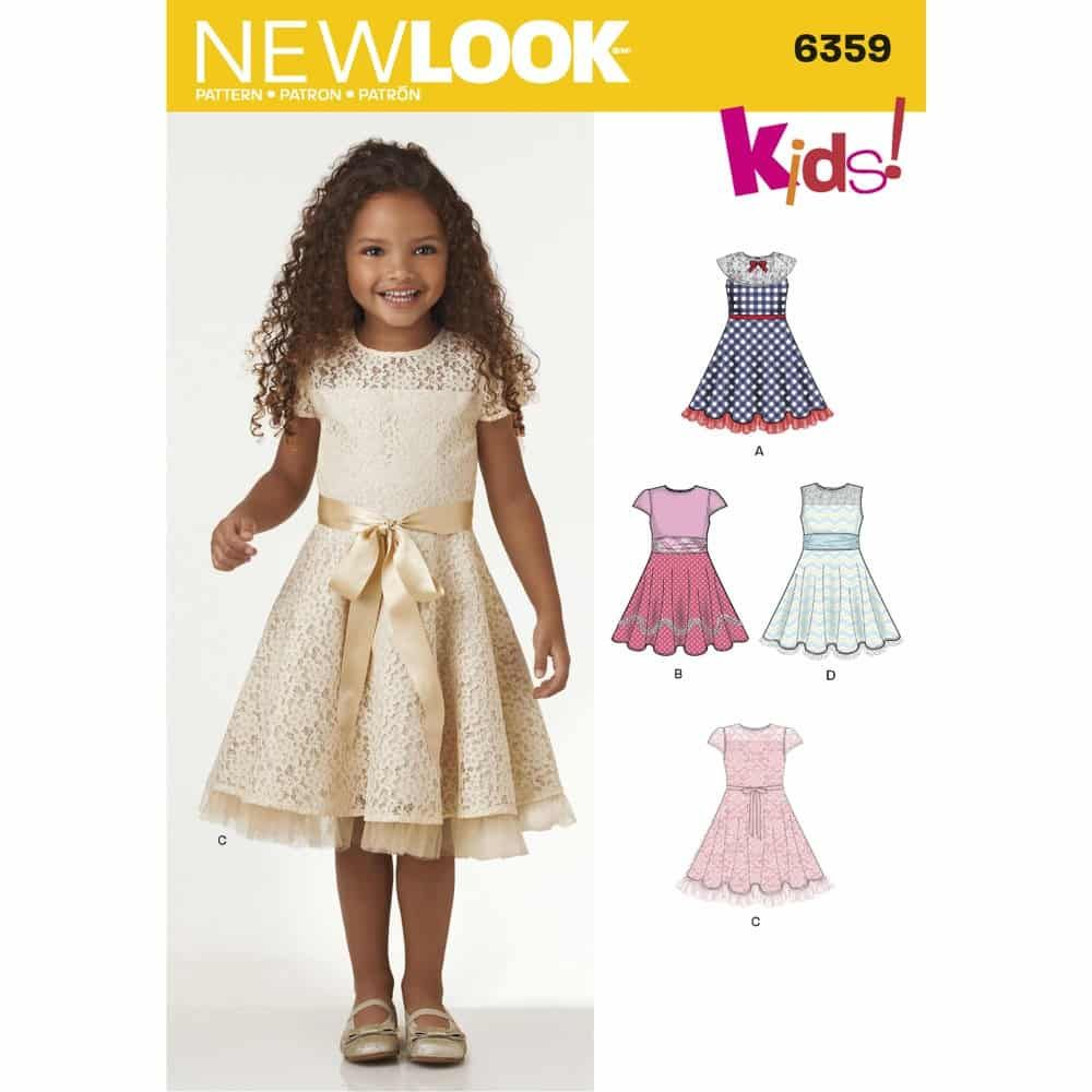 New Look Sewing Pattern 6359 Childs Dresses with Lace and Trim Details