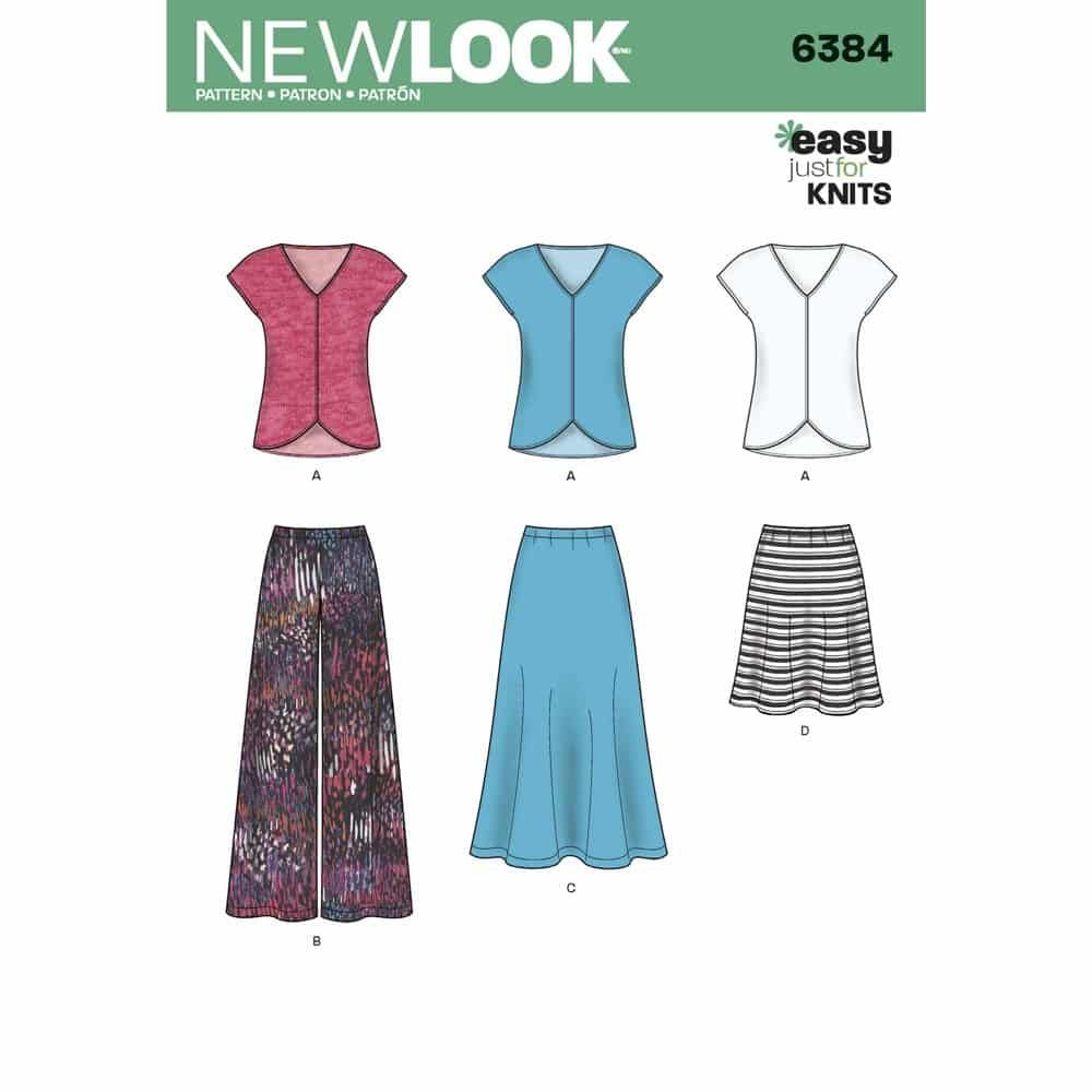 New Look Sewing Pattern 6384 Misses Knit Top, Skirt and Pants