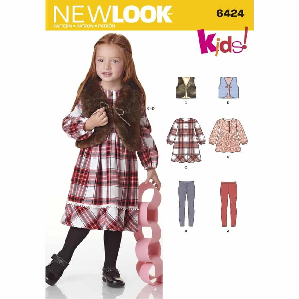 New Look Sewing Pattern 6424 Childs Dress, Top, Vest and Knit Leggings