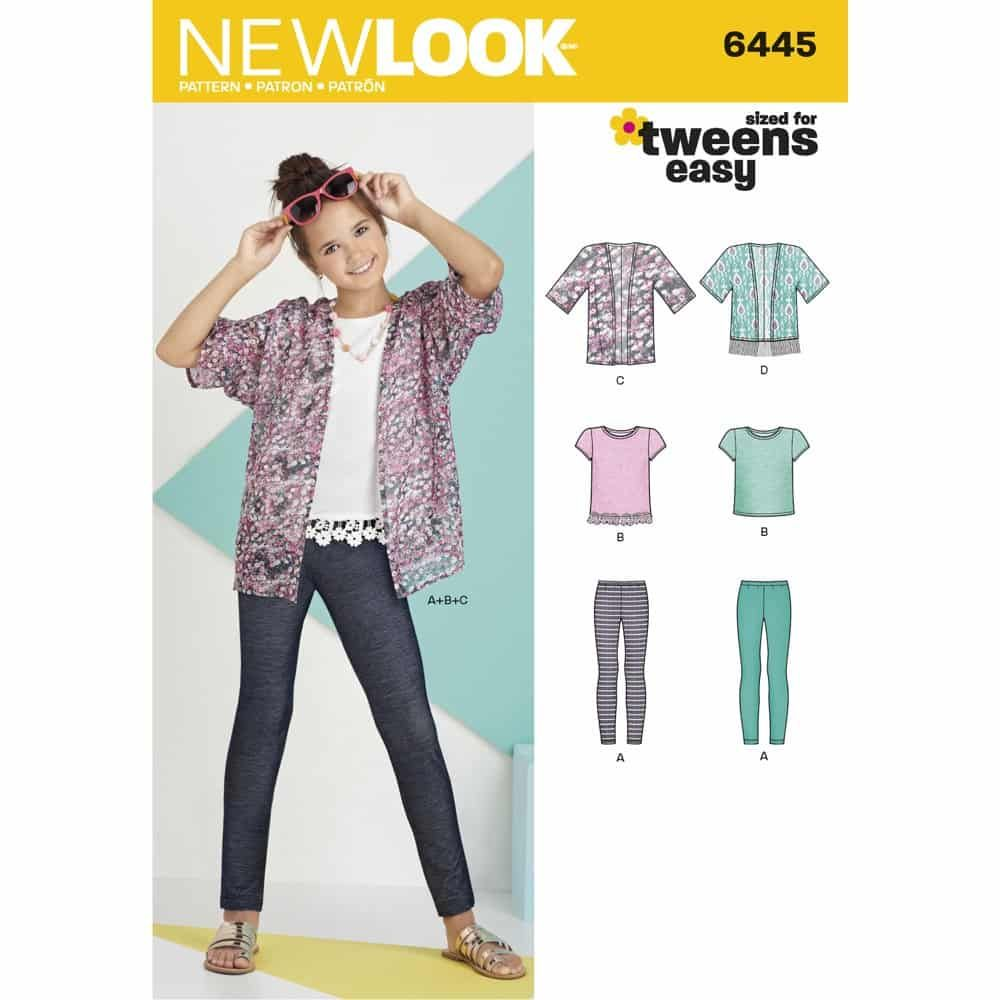 New Look Sewing Pattern 6445 Easy Girls Kimono, Knit Top and Leggings