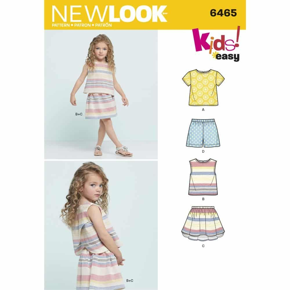 New Look Sewing Pattern 6465 Childs Easy Top, Skirt and Shorts