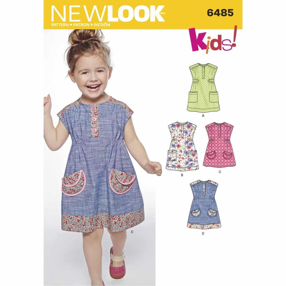 New Look Sewing Pattern 6485 New Look Pattern 6485 Toddlers Dress or Tunic with Fabric Variations