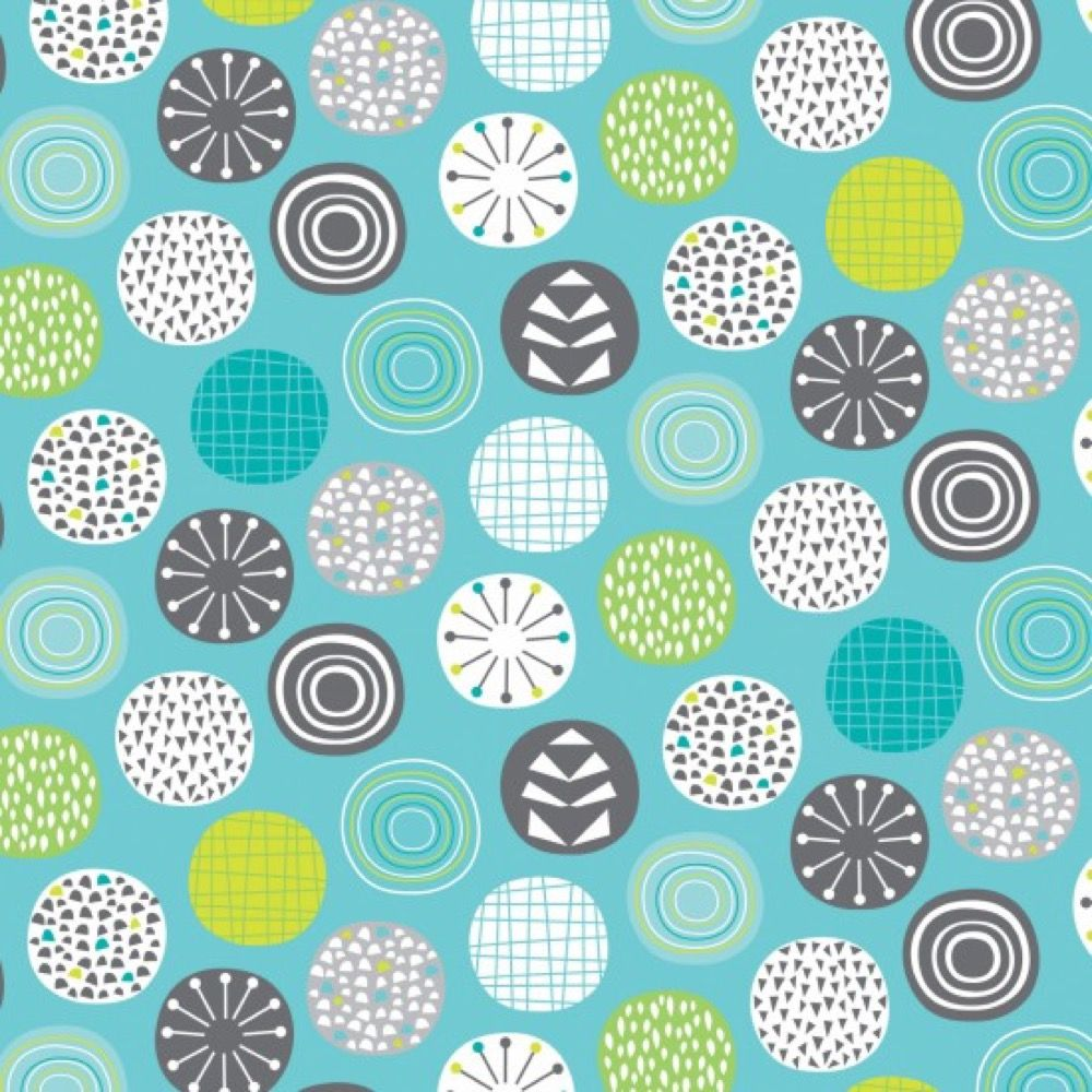 Nutex - Extra Wide Fabric - Circles On Teal