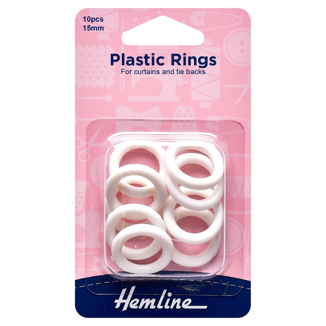 Hemline Plastic Curtain Rings - White - 15mm -10 Pieces