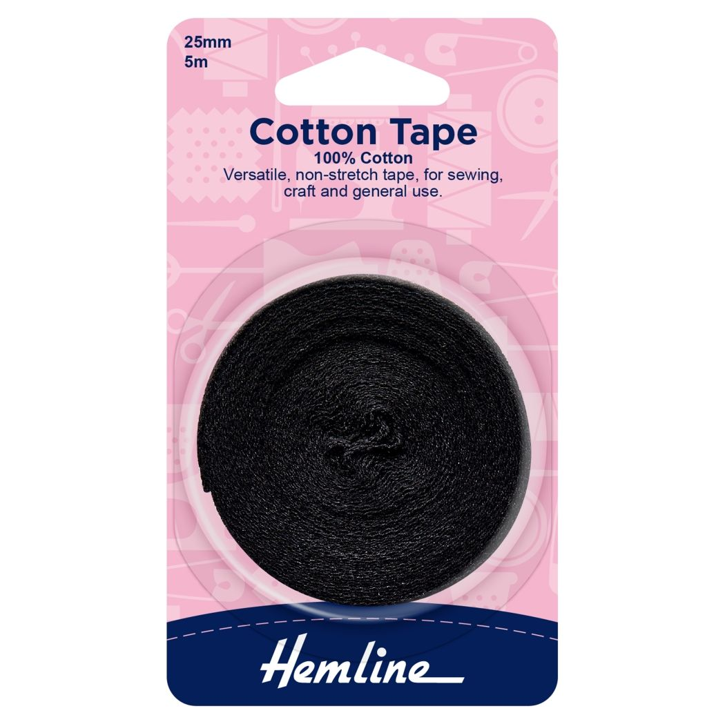 Hemline Cotton Tape - Black - 5m x 25mm