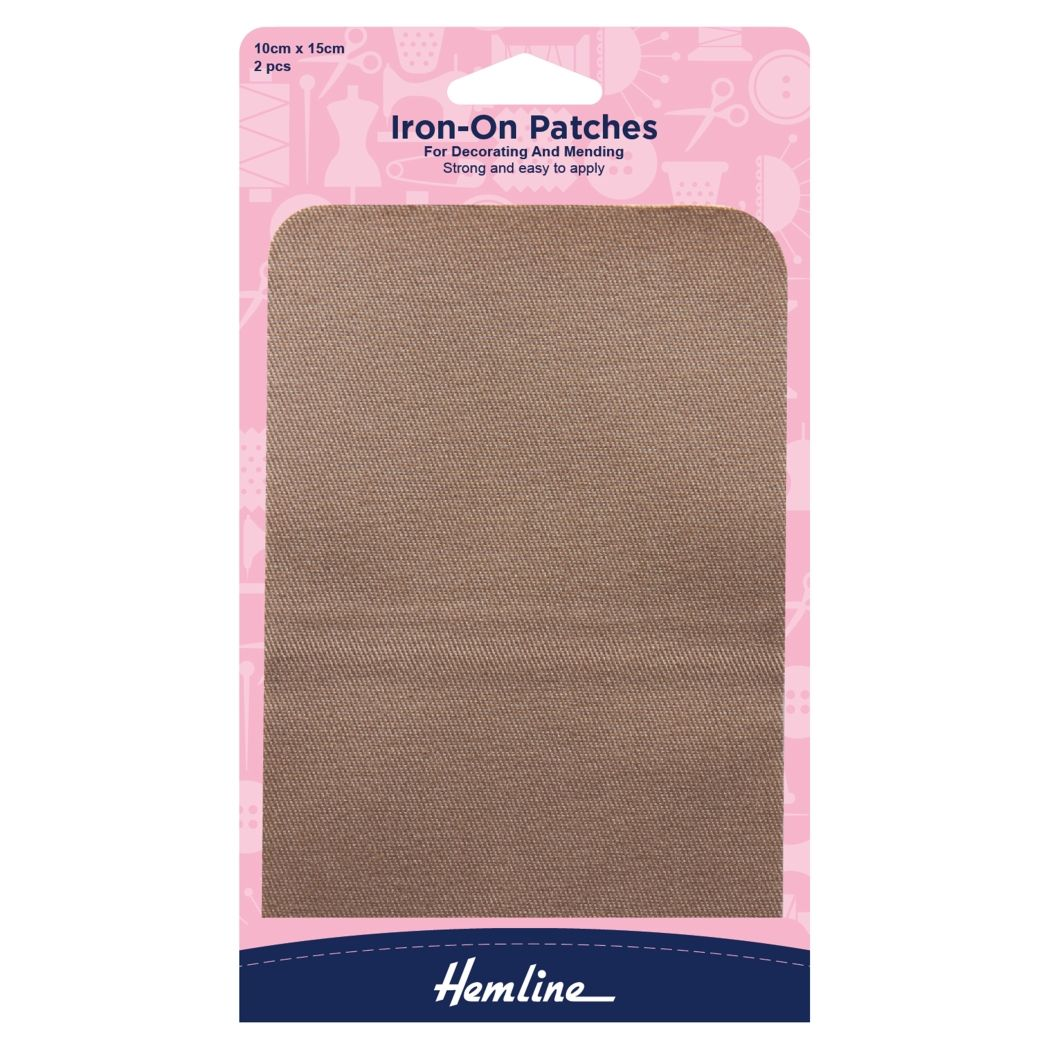Hemline Cotton Twill Patches - Fawn - 10cm x 15cm - 2 Pieces