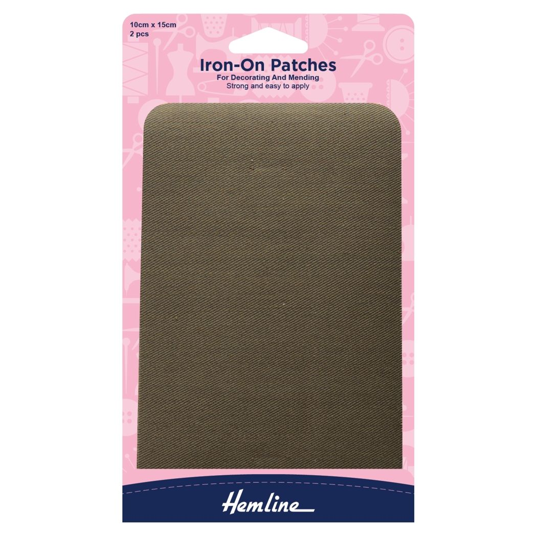 Hemline Cotton Twill Patches - Khaki - 10cm x 15cm - 2 Pieces