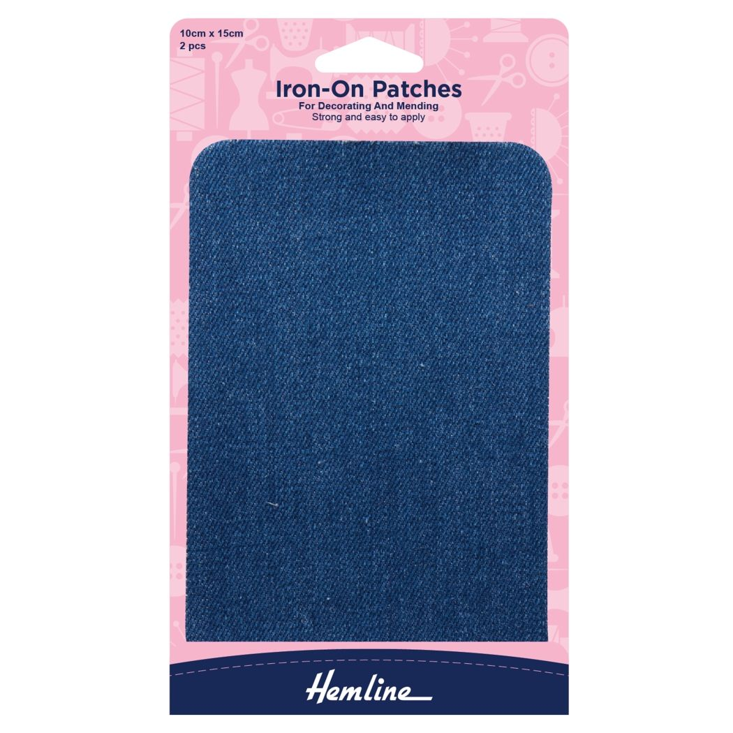 Hemline Cotton Twill Patches - Mid Denim - 10cm x 15cm