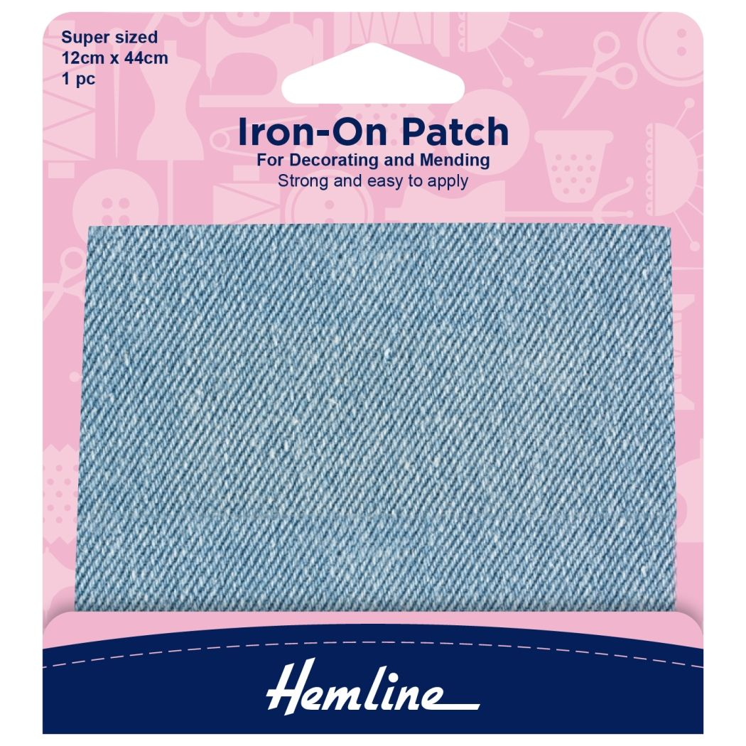 Hemline Iron-on Repair Fabric - Light Denim - 12cm x 44cm/Super Sized - 1 Piece