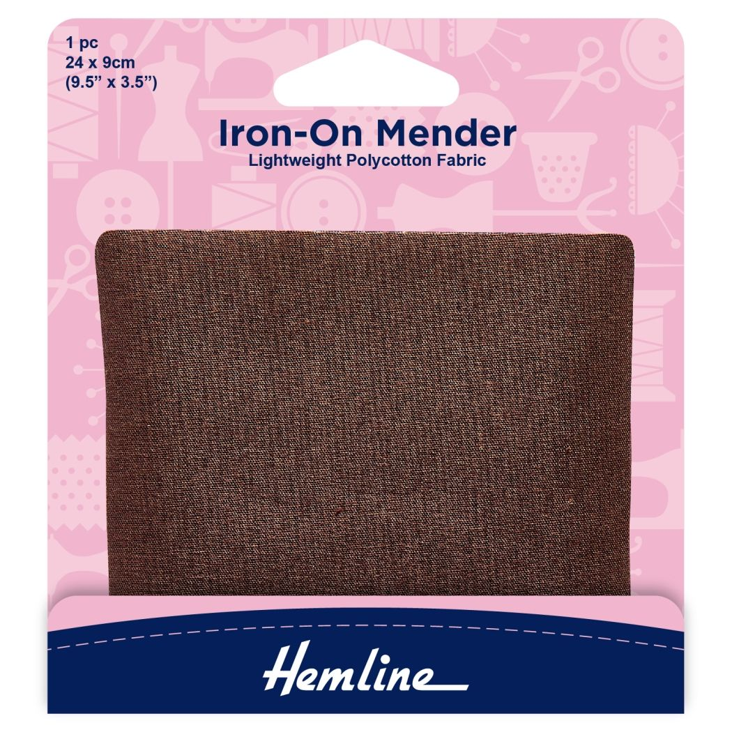 Hemline Polycotton Patch - Brown - 24 x 9cm - 1 Piece