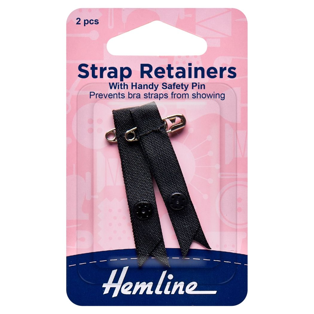 Hemline Shoulder Strap Retainer with Safety Pin - Black - 1 pair