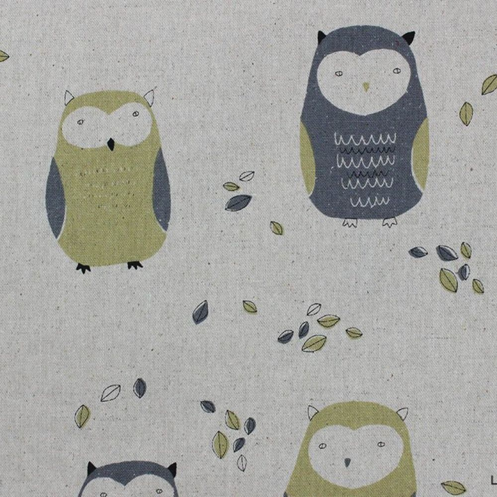 Sevenberry - Owls On Natural Oxford Cloth