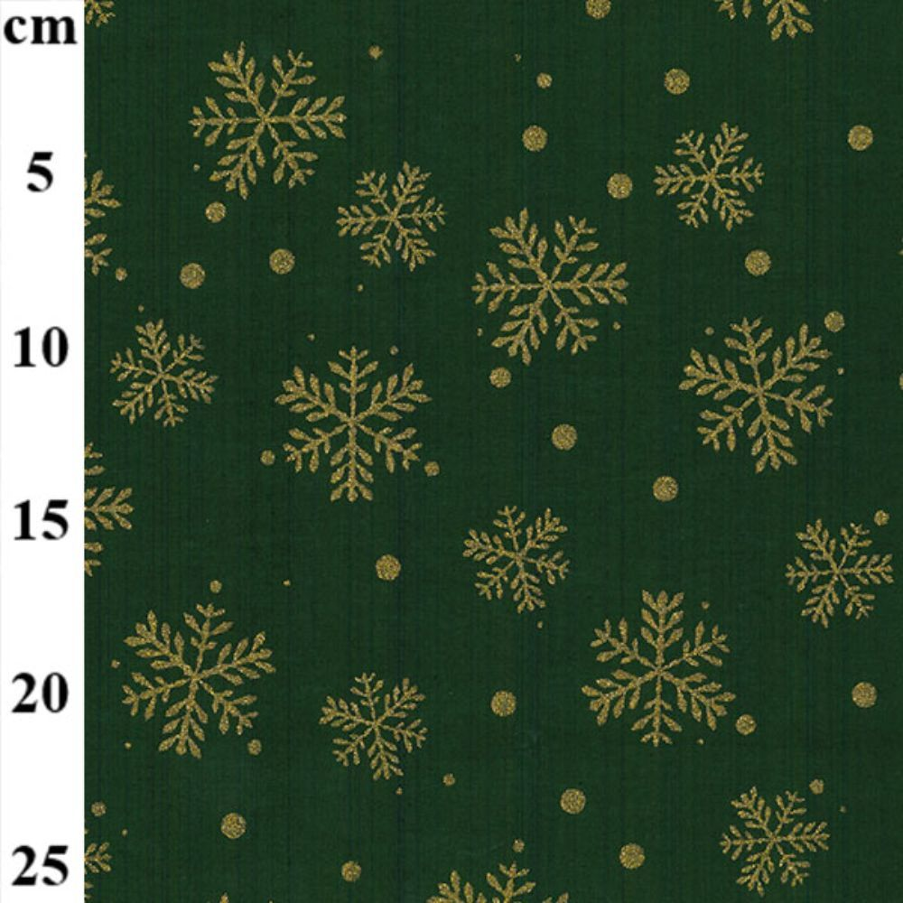 Christmas Cotton Snowflakes On Green Metallic