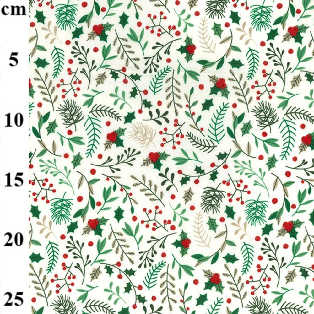 Christmas Cotton Festive Foliage On Ivory