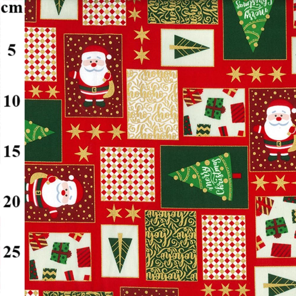 Christmas Cotton Festive Squares On Red