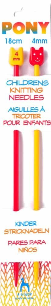 Pony Pair Of Coloured Plastic Childrens Knitting Pins - 18cm x 4mm