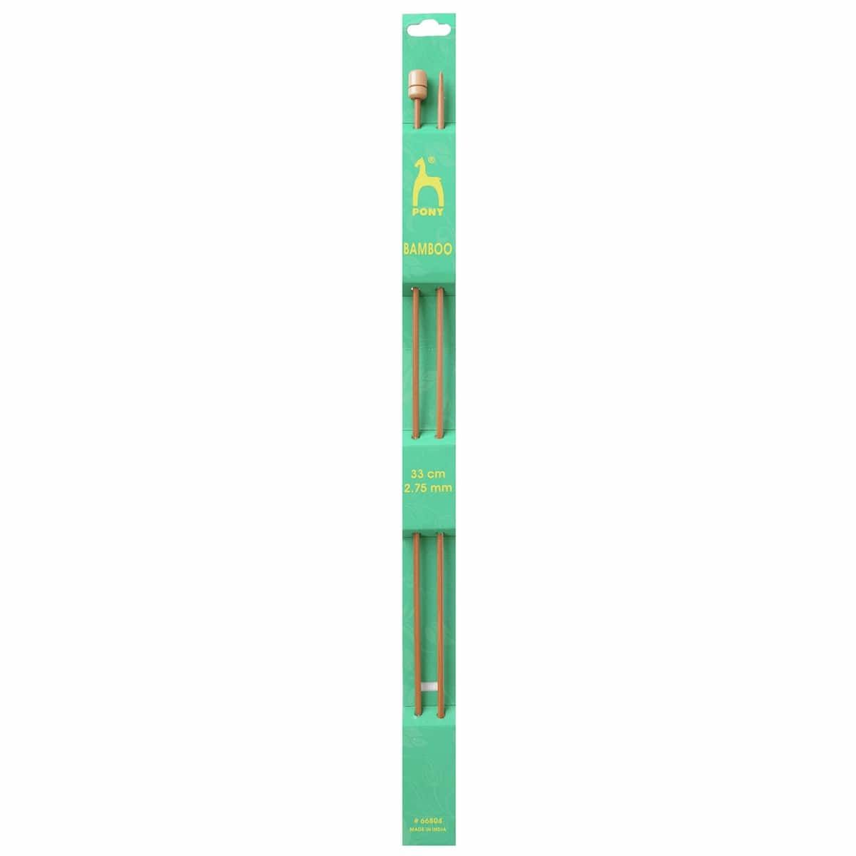 Pony Pair Of Bamboo Single Ended Knitting Pins - 33cm x 2.75mm