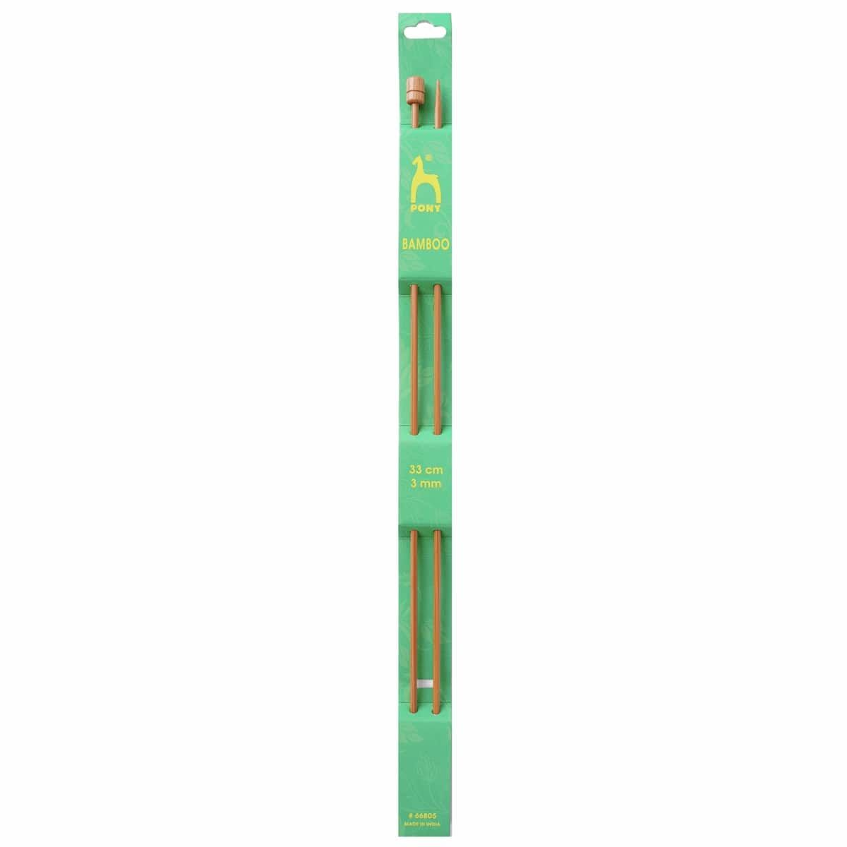 Pony Pair Of Bamboo Single Ended Knitting Pins - 33cm x 3mm
