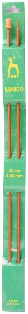 Pony Pair Of Bamboo Single Ended Knitting Pins - 33cm x 3.75mm