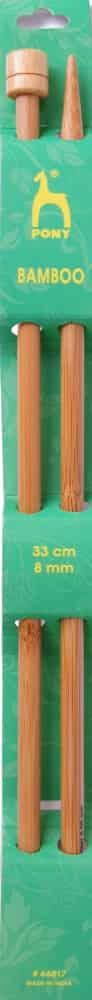 Pony Pair Of Bamboo Single Ended Knitting Pins - 33cm x 8mm