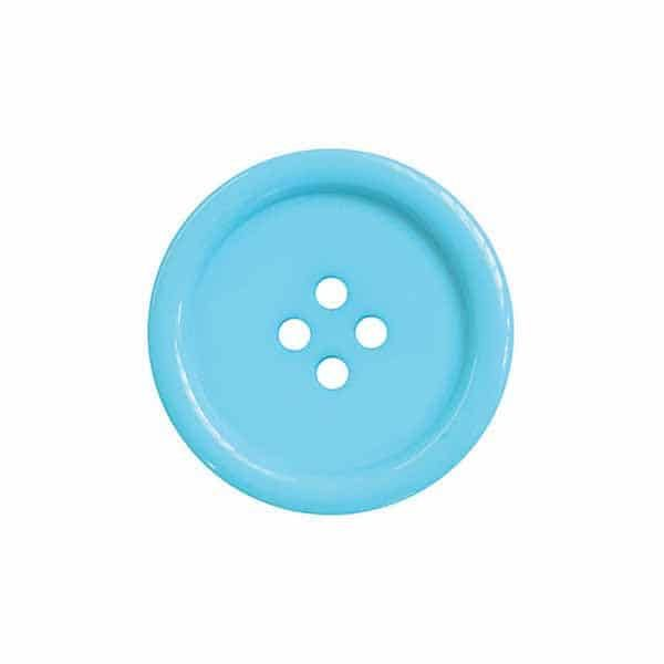 4 Hole Round Coat / Clothing Button - Bahama Blue - 44.5mm / 70L