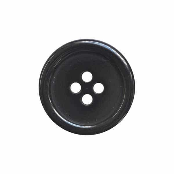 4 Hole Round Coat / Clothing Button - Black - 28mm / 44L