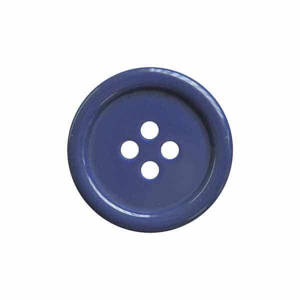 4 Hole Round Coat / Clothing Button - Blue - 18mm / 28L