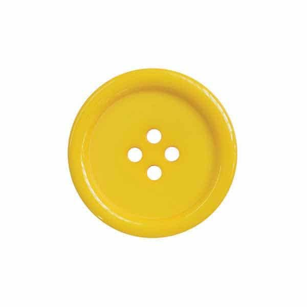 4 Hole Round Coat / Clothing Button - Yellow - 44.5mm / 70L