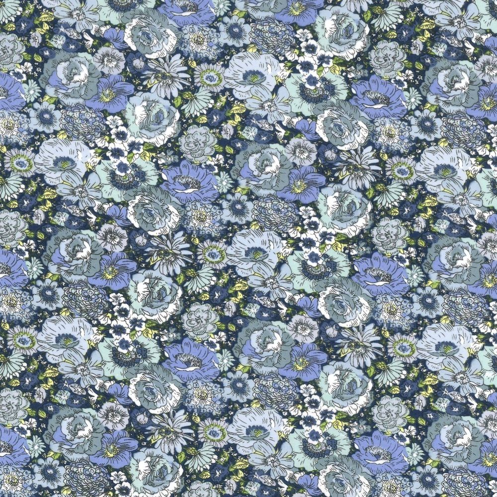 Regency Cotton Lawn Fabric - Packed Blue Flowers