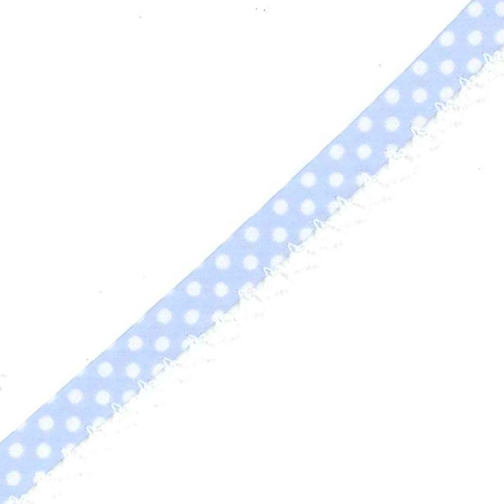 12mm Bias Binding Double Folded Lace Edged Pale Blue With White Polka Dots - 5 Metre Pack