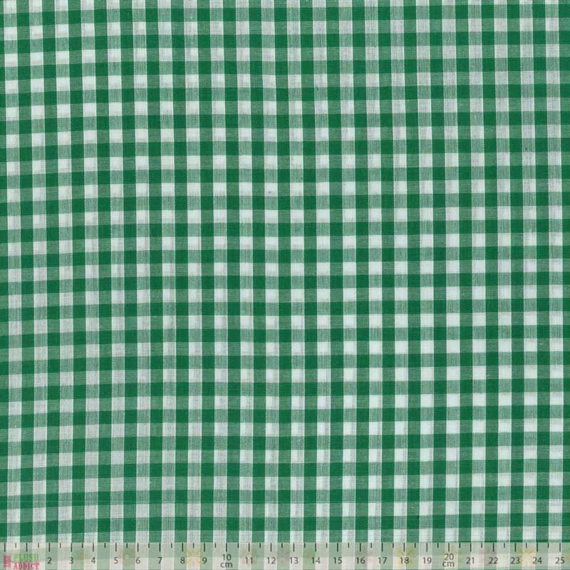 Polycotton Gingham - Green Gingham
