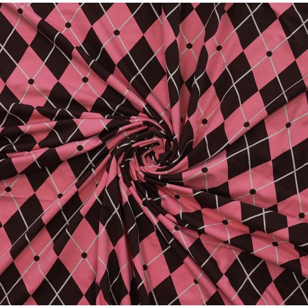 Stretch Cotton Spandex Jersey Knit - Pink And Brown Harlequin