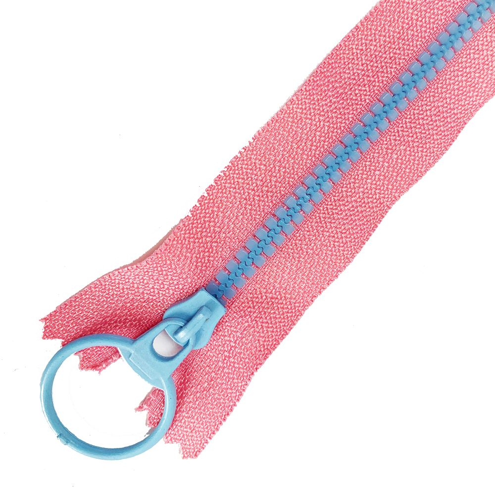 Dual Colour No. 3 Plastic Chunky Style Zip - Pink / Pale Blue - 8