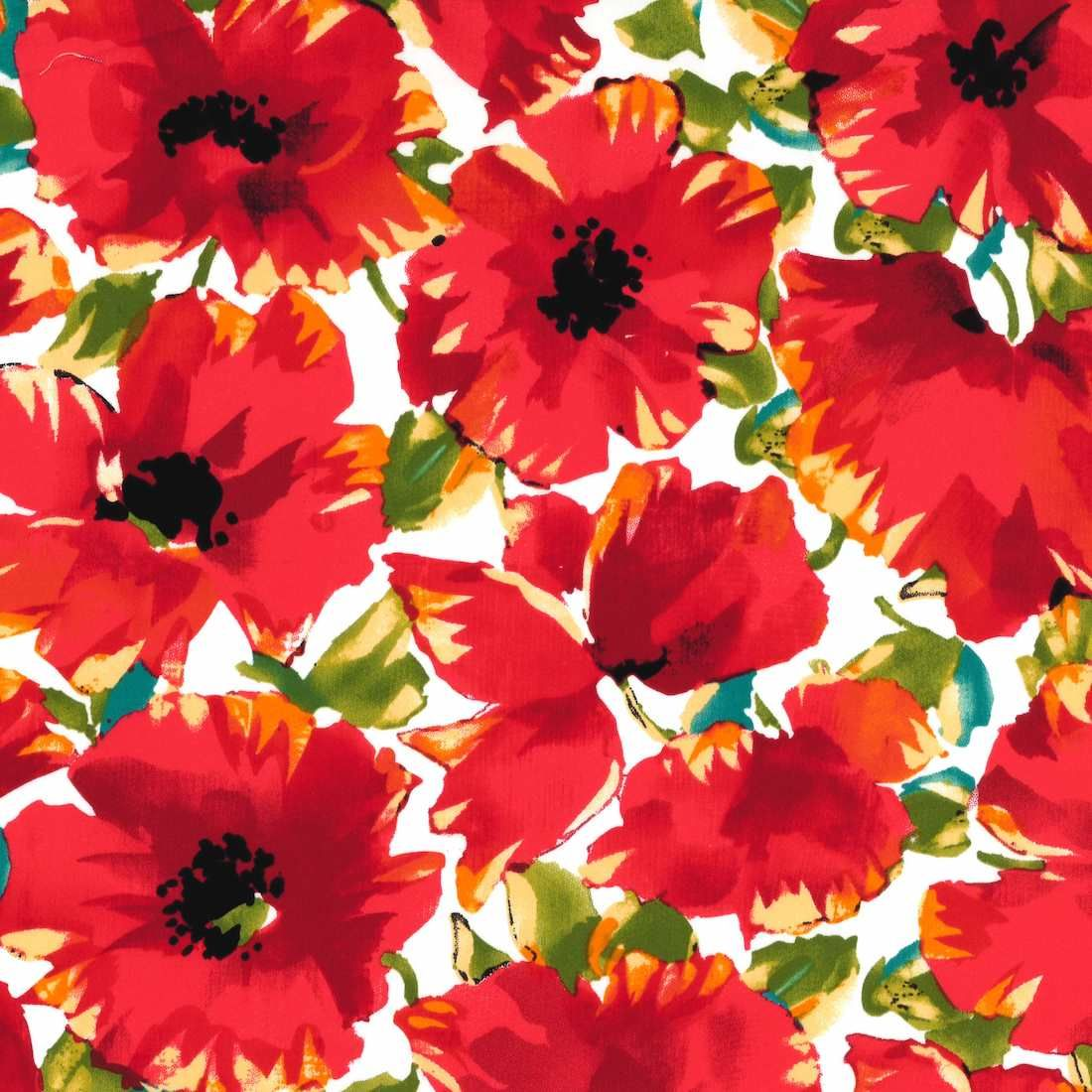 Stretch Cotton Fabric - Poppies On White